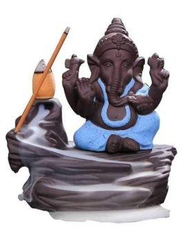 Handmade Ganesha Smoke Backflow Cone Incense Holder Burner